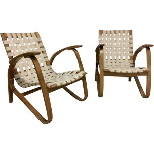 Vintage pair of wooden armchairs by Jan Vanek, Chekoslovakie 1930s