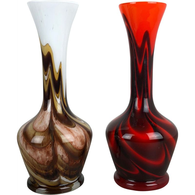 Vintage pair of Pop Art Vases by Opaline Florence, Italy, 1970