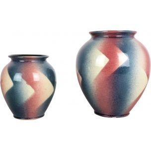 Vintage set of 2 Op Art Spritzdekor Bauhaus vases by Bay Ceramics, Germany, 1950