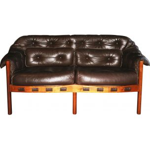 Vintage dark brown leather sofa by Arne Norell for Coja, 1960