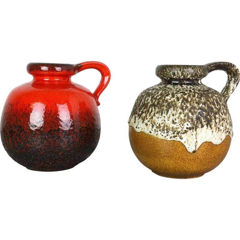"""Set of Two pottery fat lava vases Model """"484-21"""" by Scheurich Germany 1970"""