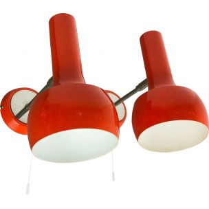 Vintage set of 2 red orange wall ceiling spot light swisslamps international, Switzerland, 1970