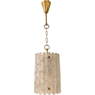 Vintage crystal and brass hangin lamp by Carl Fagerlund for Orrefors 1960