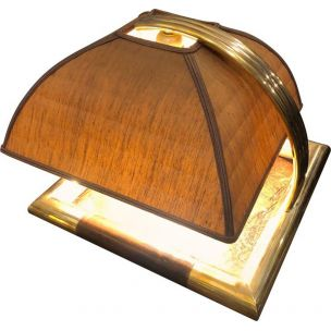 Brass and leather squared italian vintage table lamp, 1960s