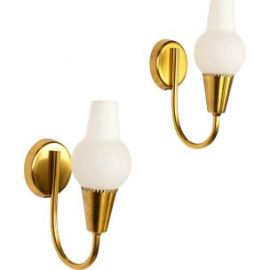 Pair of vintage wall lamps with brass and opaline by Lyfa, 1960s