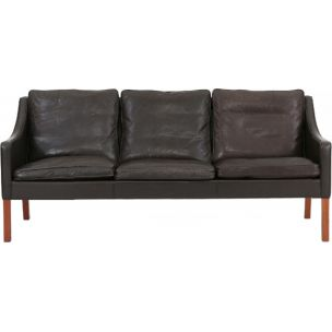 Vintage 3-seater sofa in mahogany by Borge Mogensen fr Fredericia Stolefabrik, 1963