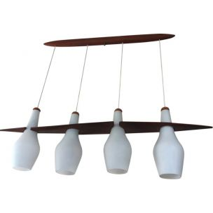 Vintage Rispal chandelier in teak and opaline, 1960
