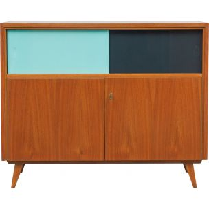 Vintage cabinet with coloured glass sliding doors,1960
