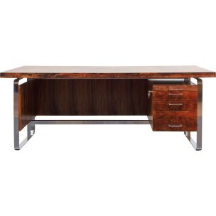 Vintage large desk office in rosewood, 1970s