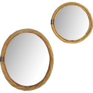 Vintage pair of Italian Rattan Mirror, 1950s