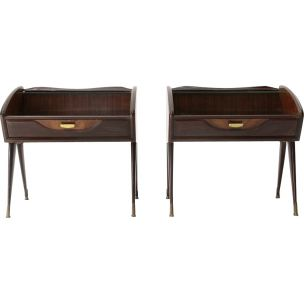 Vintage pair of Italian night stands in wood and glass, 1950s