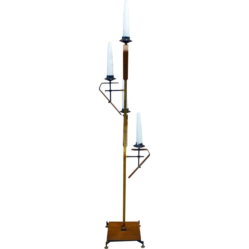 Vintage floor lamp in metal, teak, brass and opaline - 1950s