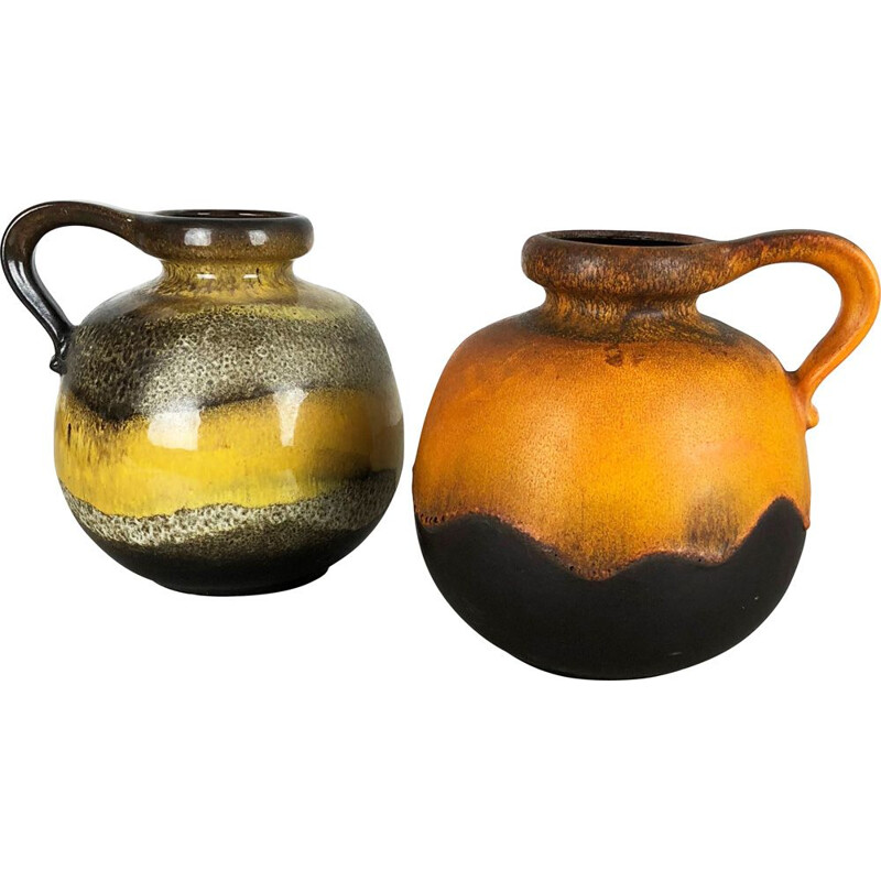"Vintage set of 2 Potteries Fat Lava vases model ""484-21"" by Scheurich Germany 1970"