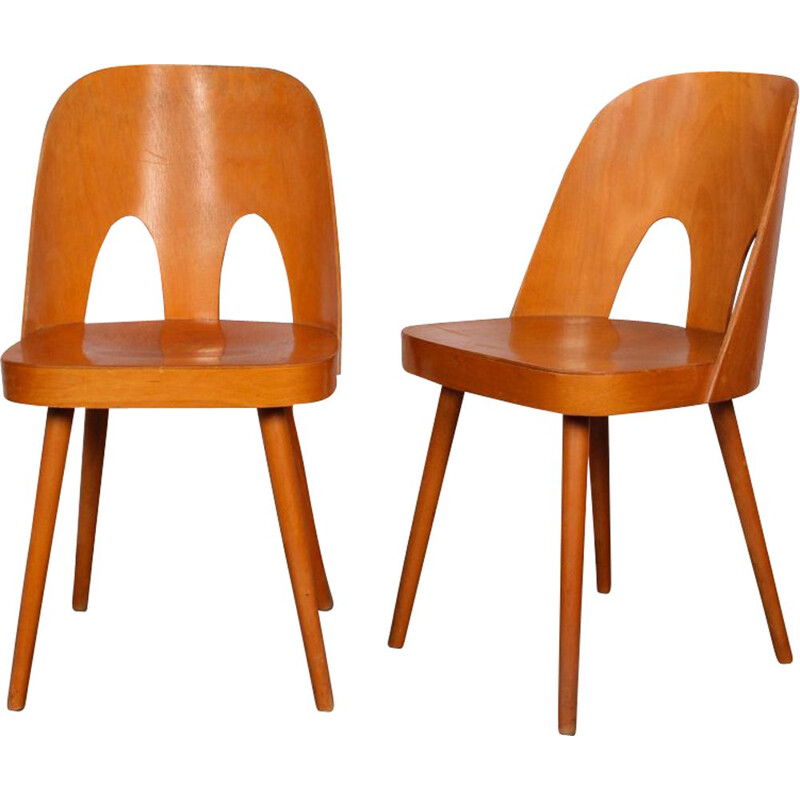 Pair of vintage chairs by Oswald Haerdtl for Ton, 1960