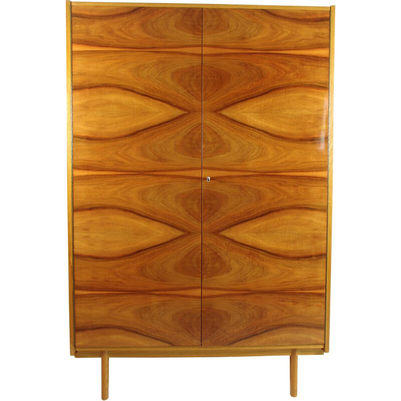 Vintage closet in Walnut by LIPA, Czechoslovakia, 1960s