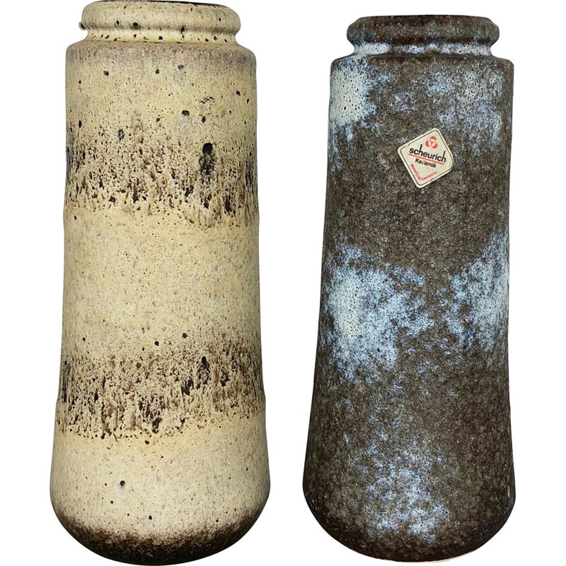 "Vintage pair of Two Pottery Fat Lava Vases ""206-26"" Made by Scheurich, Germany 1970s"