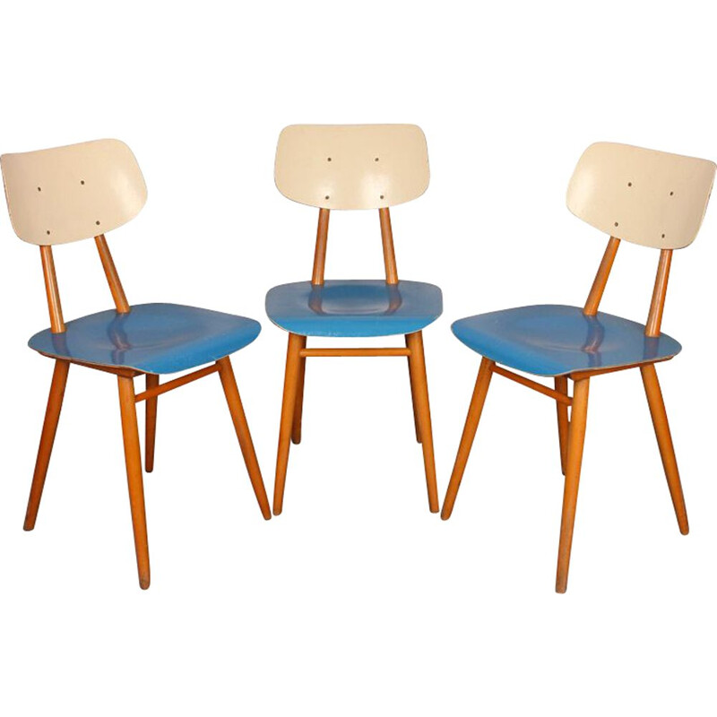 Suite of 3 vintage Czech chairs for manufacturer Ton, 1960s