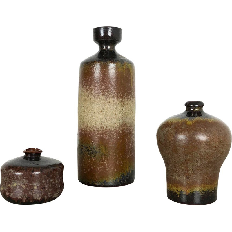 Vintage Set of 3 Ceramic Vases by Elmar and Elke Kubicek, Germany, 1970