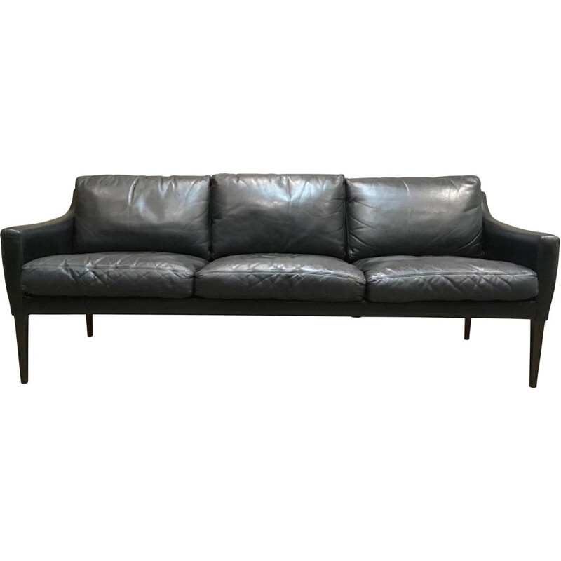 Vintage 3-seater Scandinavian sofa in black leather, 1950s