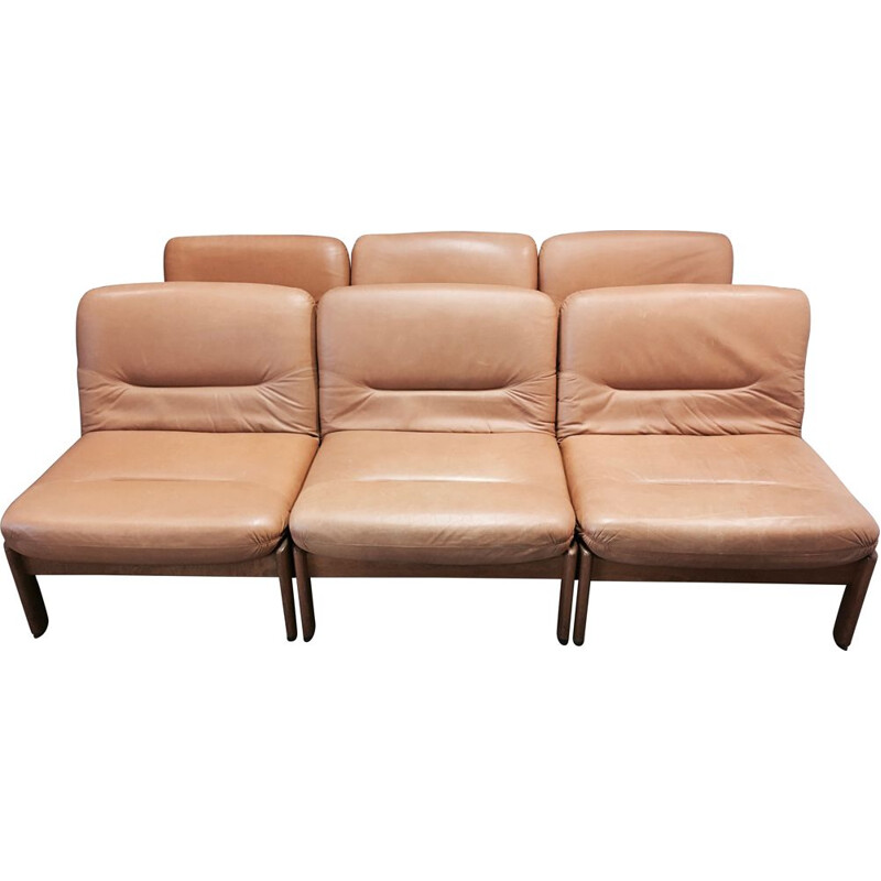 Vintage Set of 6 Scandinavian modular armchairs in teak and leather, 1960