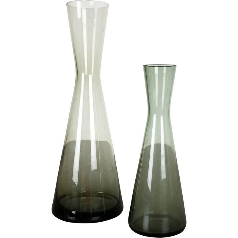 Vintage pair of 2 Turmalin Vases by Wilhelm Wagenfeld for WMF, Germany 1960s