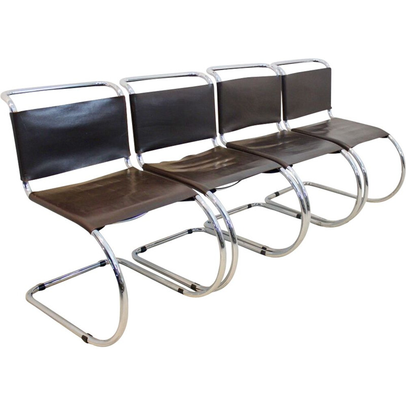 Set of 4 MR10 Cantilever Chairs in Chocolate Brown by Ludwig Mies van der Rohe, 1960s