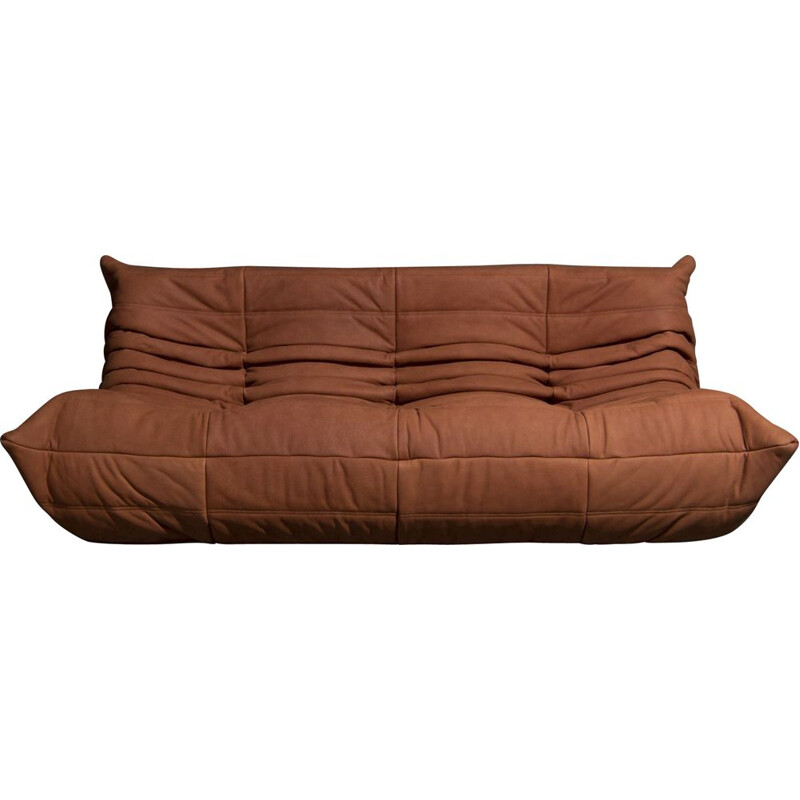 Vintage Togo 3-seater in cognac leather by Ligne Roset