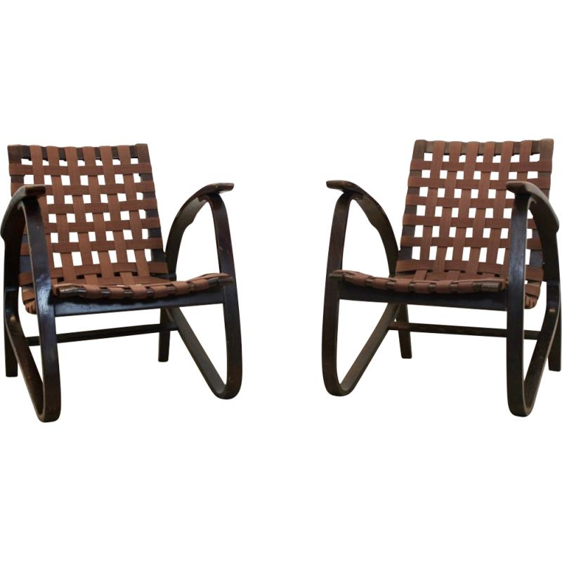 Vintage pair of Bentwood Armchairs by Jan Vaněk for UP Zavodny, Czechoslovakia 1930s