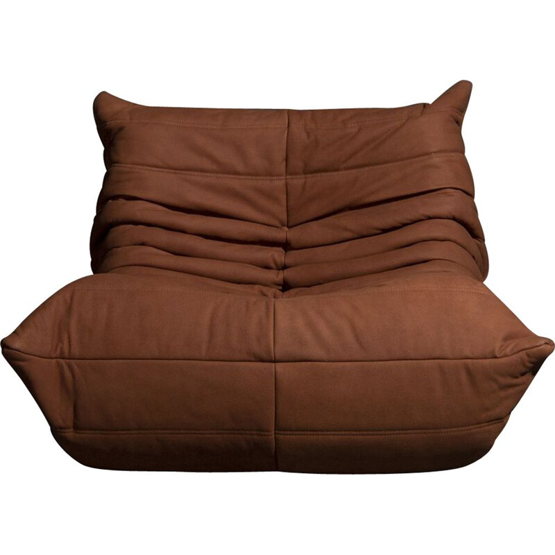 Vintage togo 1-seater sofa in cognac leather by Michel Ducaroy for Ligne Roset