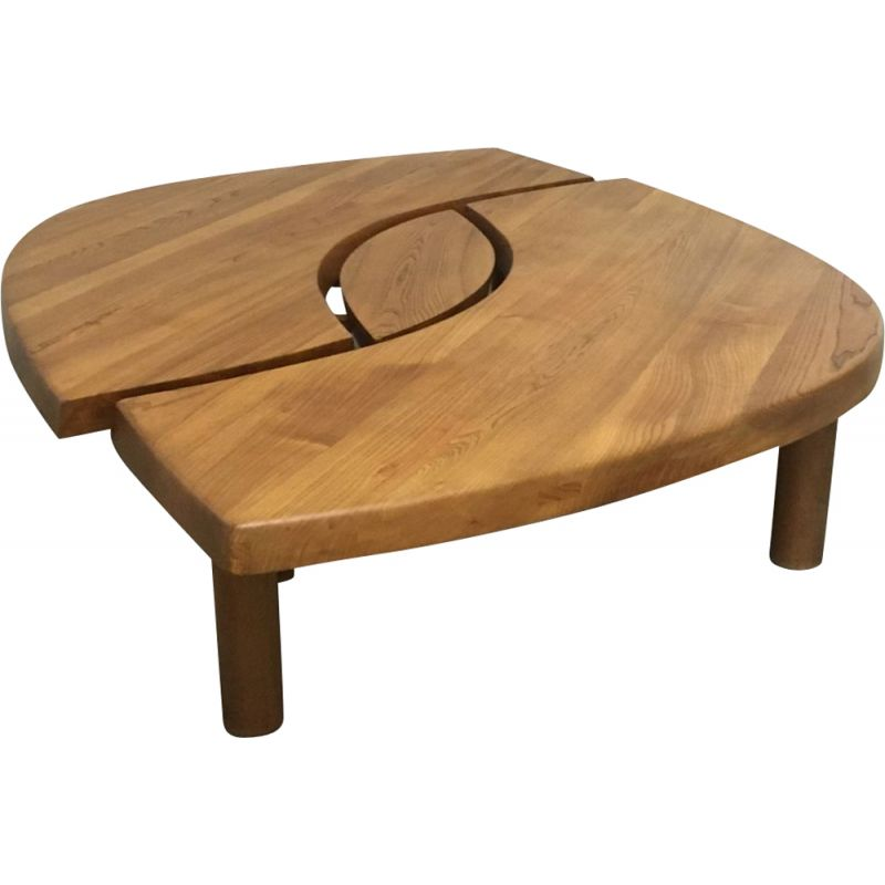 "Vintage coffee table T22 ""L'oeil"" in solid elm, by Pierre Chapo, 1972"