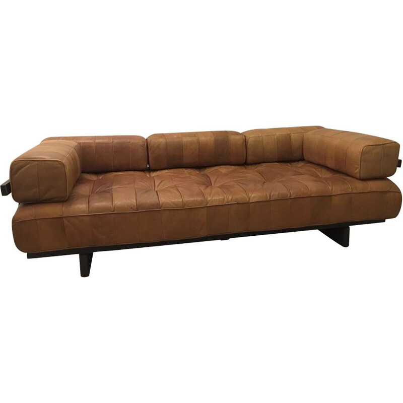 Vintage 3-seater leather sofa DS80 by De Sede, Switzerland, 1970s