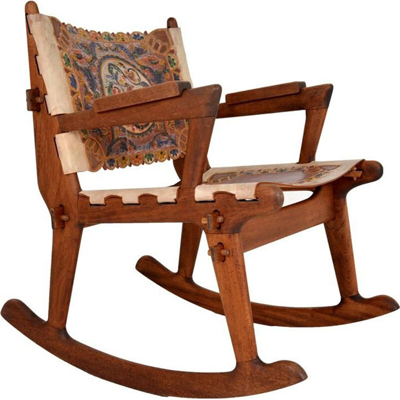 Vintage rocking chair in wood and leather by Angel Pazmino