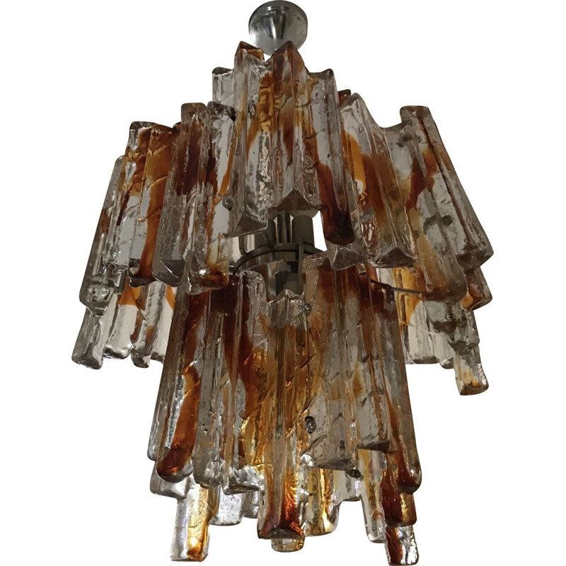 Vintage chandelier in bicolour glass, Albano Poli for Poliarte 1960