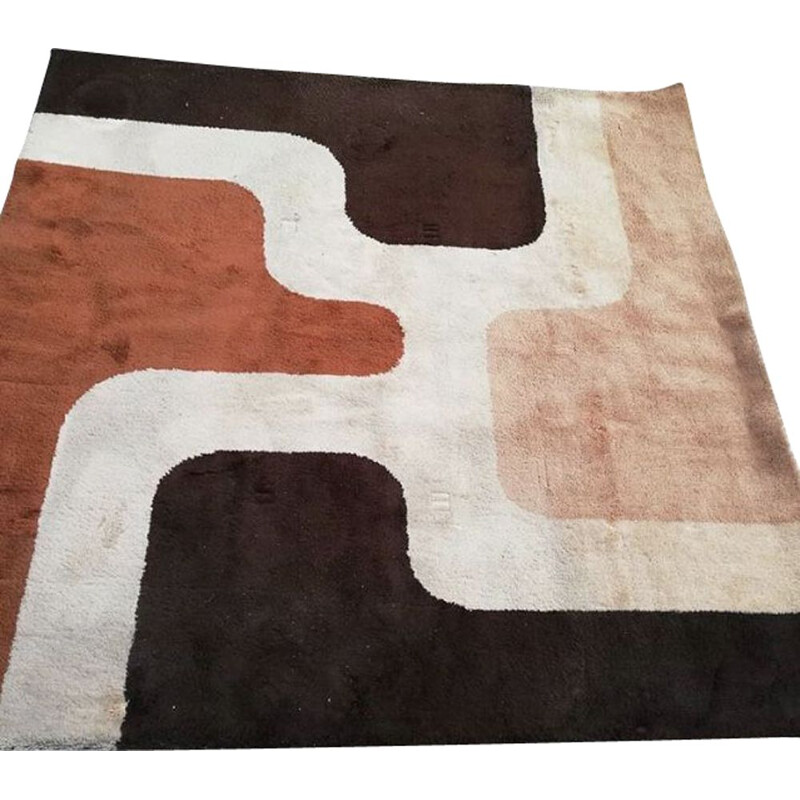Vintage carpet in multicolored wool from Beauvais 1970