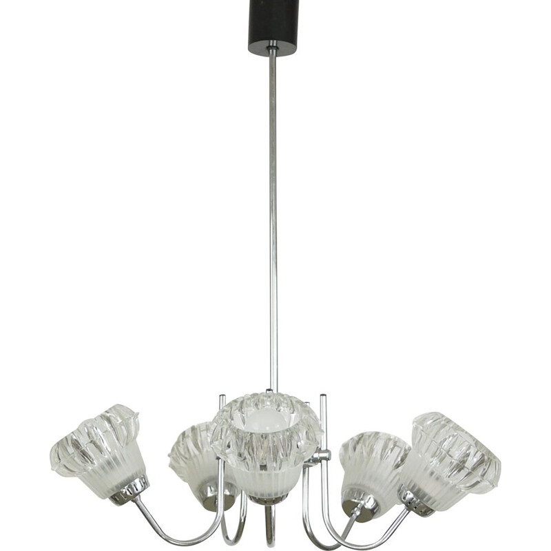 Vintage chandelier 5 lights in chrome glass Italy 1950