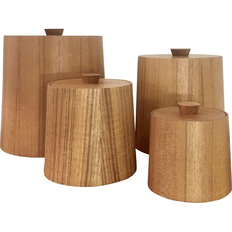 Set of 4 vintage teak boxes, Japan 1970