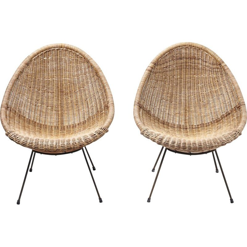 Vintage pair of rattan 'basket'armchairs, Italy 1950s
