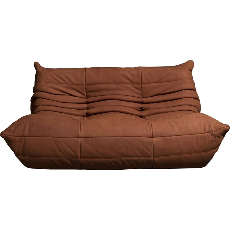Vintage Togo 2-seater in cognac leather by Michel Ducaroy for Ligne Roset