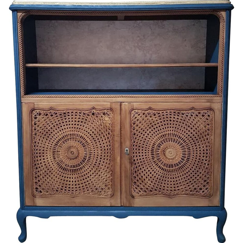 Vintage buffet in oil blue wood and can doors