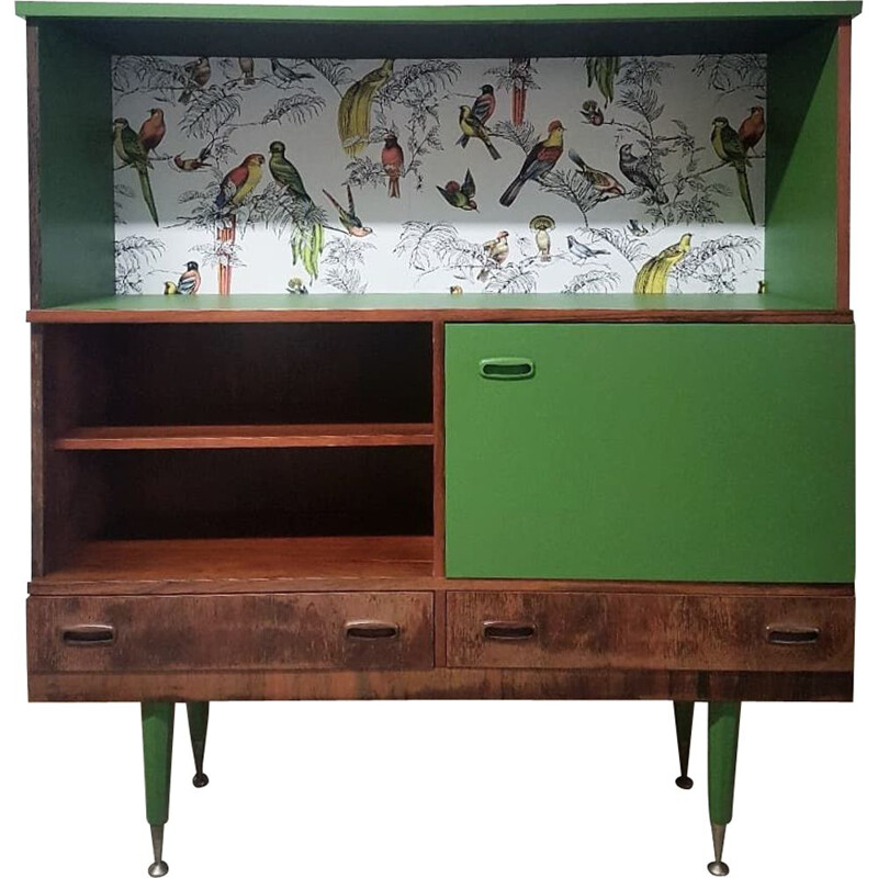 Vintage buffet in wood, green and bird motifs