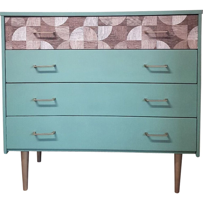 Vintage pastel green and retro patterns chest of drawers