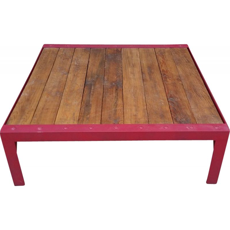 Industrial Vintage Metal And Wood Coffee Table Design Market