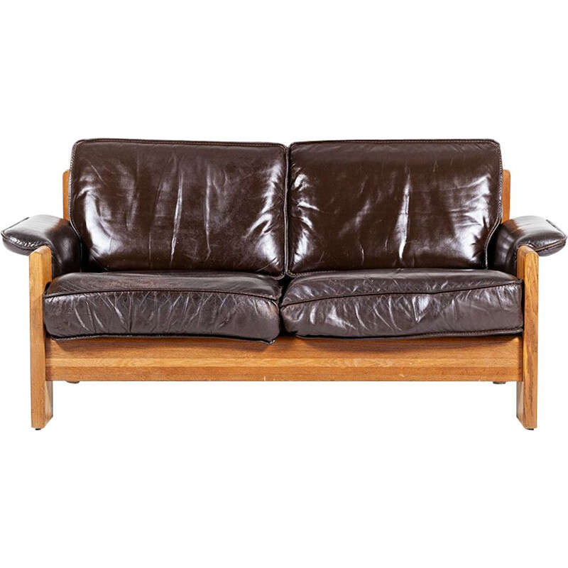 Set of 2 vintage oak and leather 2-seater sofas by Harry de Groot from Leolux, 1970s