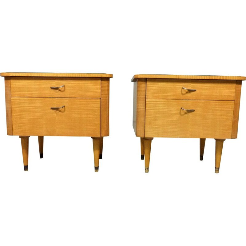 Set of 2 vintage glass and wood night tables, 1950