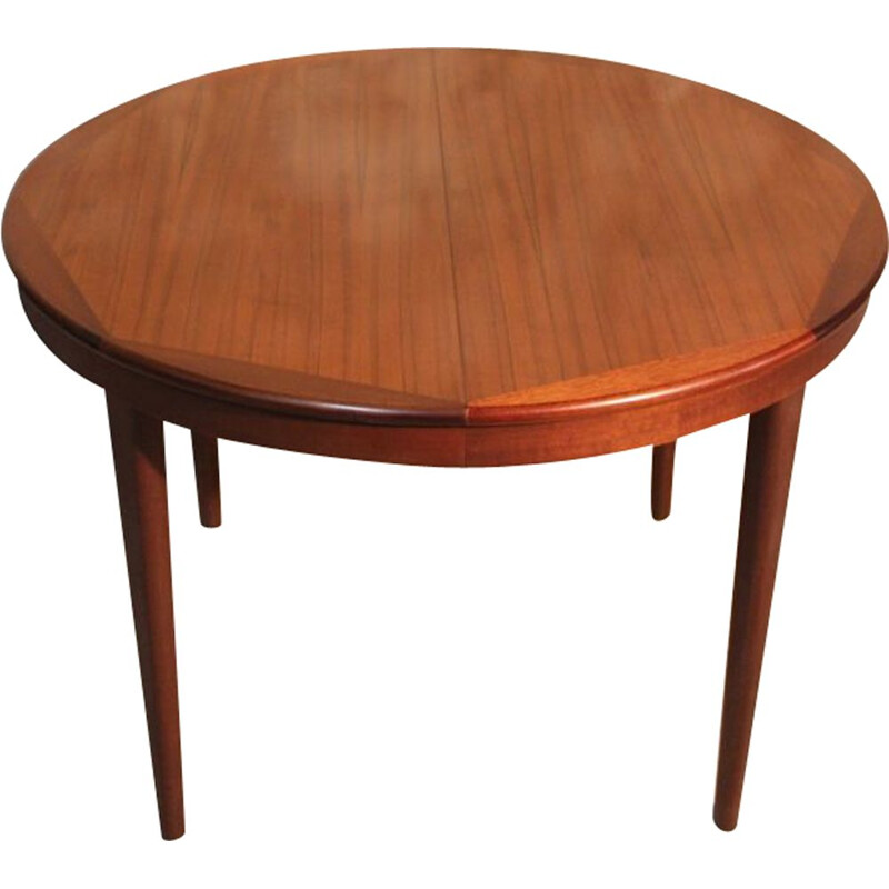 Vintage teak round table with extension, Scandinavian style, 1960