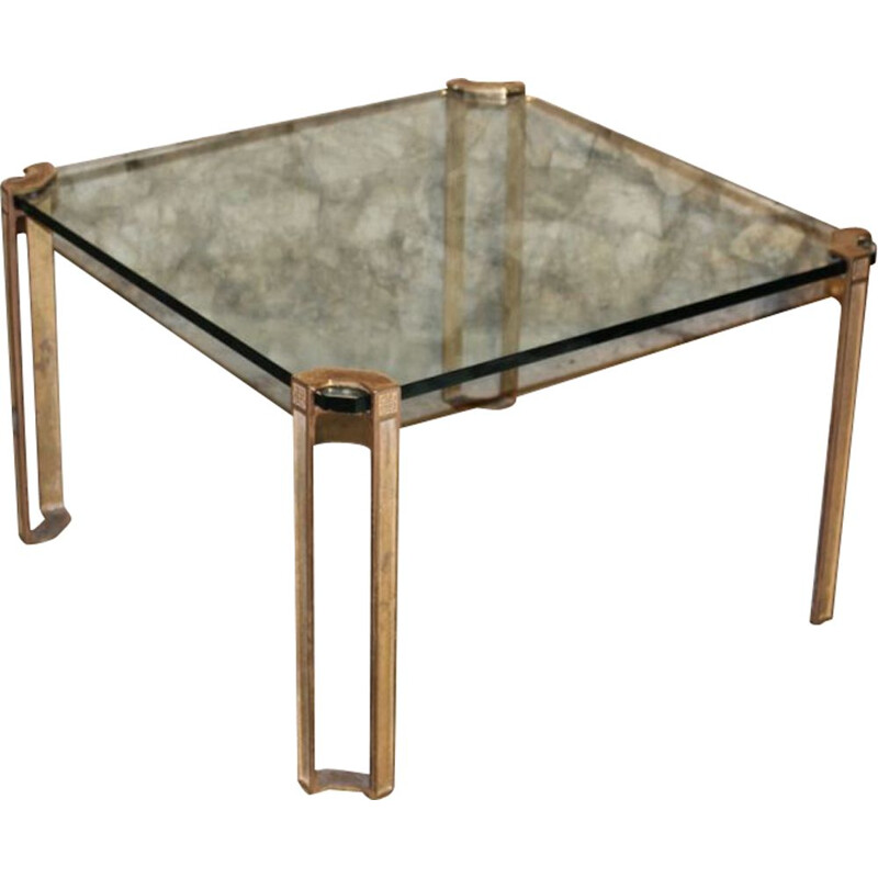 Vintage square coffee table in glass and brass by Peter Ghyzcy, 1970s