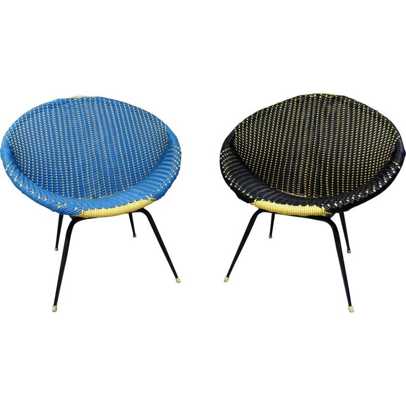 Set of 2 colourful vintage armchairs, 1960s