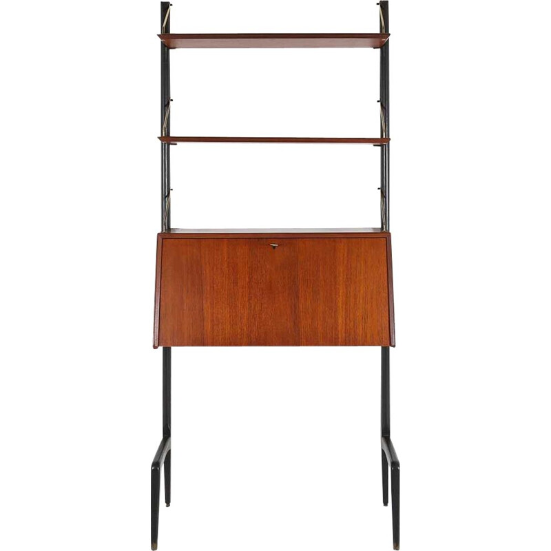 Vintage teak wood wall unit by Louis van Teeffelen 1950