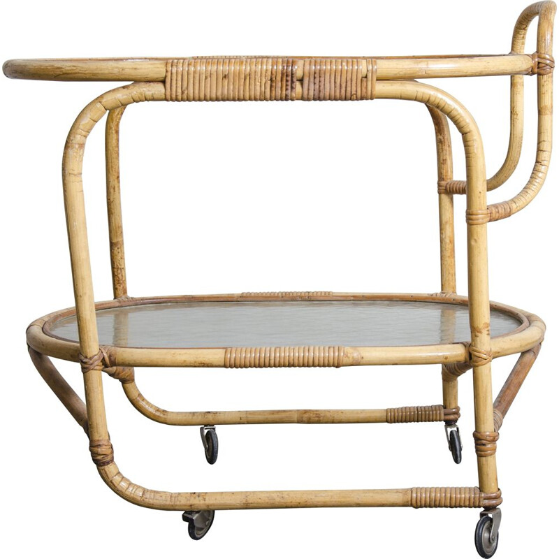 Vintage serving trolley in rattan from Rohé Noordwolde, 1960