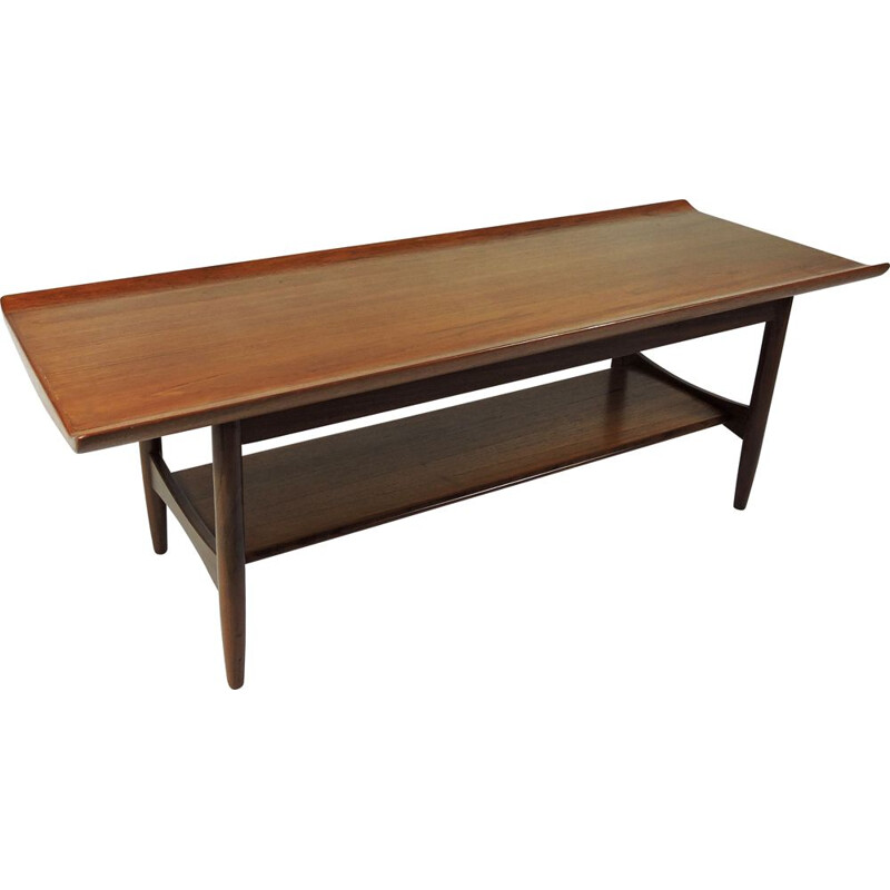 Vintage teak 2-tier coffee table 1960